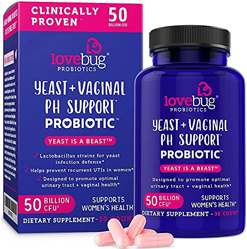 LoveBug Probiotics Complete Women's Health, 50 Billion CFU Vaginal Care and pH Balance Probiotic, Proven Ingredients with Pacran, Promotes Urinary Tract Health, Advanced Strength, 30 Capsules