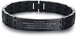 MPRAINBOW Stainless Steel to My Son/DAD,BF/Husband Courage Inpsirational Wristband Link Bracelets for Men, Birthday Gifts ...