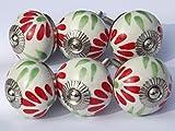 6 x para acabados metálicos en blanco redondo con rojo y verde de nieve (cromado accesorios) tiradores de cajón de cerámica pomo para puerta de armario