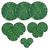 sevenjuly Hojas Artificiales de Lotus Cojines de Lirio de Agua follaje Hojas del Lirio de Estanque de Peces de Acuario Piscina 12PCS, para el hogar decoración de jardín