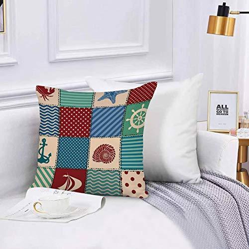 Lilatomer dekorativer Kissenbezug,Stuhl, Bettwäsche, Nautical Seashell Starfish Anchor Wheel Segelboot und Krabbe,Kissenbezüge für Couch, (45 x 45 cm) mit unsichtbarem Reißverschluss