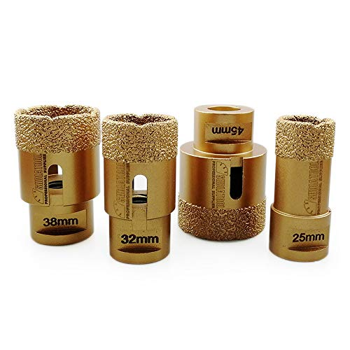 SHDIATOOL 4pcs Diamond Drill Core Bits Set Diameter 25 32 38 45mm for Porcelain Tile Granite