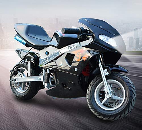 Gas Pocket Bike,49cc Gas Pocket Bike of Steel Frames,4-Stroke Engine Motorcycle Holeshot Off Road Motorcycle for Kids Teenagers(Without Headlight) (Black)