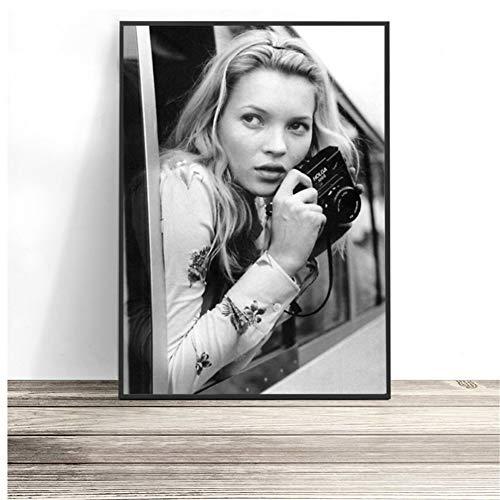 Poster Wandkunst Kate Moss Fotografie Drucke Schwarz und Weiß Supermodel Foto Leinwand Malerei Wandbilder Modernes Dekor -50x70 cm Kein Rahmen