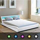 Festnight Artificial Leather <span class='highlight'>Bed</span> <span class='highlight'>Frame</span> <span class='highlight'>Led</span> <span class='highlight'>Bed</span> 5FT King Size with <span class='highlight'>Led</span> Light for <span class='highlight'>Bed</span>room White
