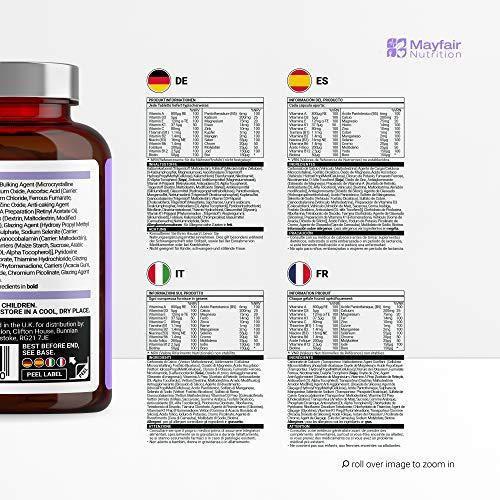 Complete Multivitamin – Die besten Vitamine, die man nur 1 x am Tag nehmen muss: für optimale Gesundheit, Vitalität, Unterstützung des Immunsystems, Zink, Eisen, Magnesium, 100% ETD an A C B2 B3 B6 B7 B12 D E für Männer & Frauen – 90 Tabletten – Qualitativ hochwertige Inhaltsstoffe - 4