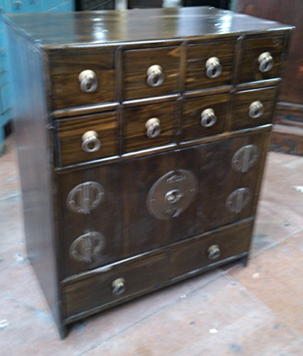 Antiker Apothekerschrank Aktenschrank Büroschrank Apotheke Schrank Sideboard Kommode Kommodenschrank Sideboardschrank mit 10 Schubladen Breite49xHöhe59cm