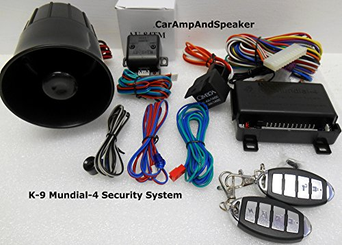 Brand New Omega K9 Mundial-4 (New Version) Car Alarm with Keyless Remote Entry + (2) 4 Button Remotes with + Au-84tm Dual Zone Shock Sensor, Aux Input and Stylish Remoted