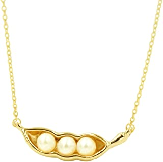 Gold Three Pea in Pod Necklace Very Cute Jewelry Pearl Pendant Mother's Gift Everyday Jewelry