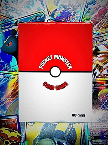 Ultra Rare Lot 100 Cartes Pokemon GX boosters! Boîte/Coffret de Rangement Inclus! Cartes à Collectionner-Cadeaux pour Enfants (100GX)