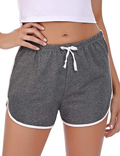 Abollria Damen Shorts Schlafanzughose Kurz Schlafhose Kurze Sporthose Baumwolle Pyjamahose Kurz Hosen Yoga Running Gym Beiläufige Elastische (Dunkelgrau, M)