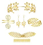 LOYALLOOK 5Sets Grecian Goddess Costume Accessories Set Greek Leaf Headband Coil Bracelet Artificial Pearl Earrings Golden Leaves Bridal Hair Comb for Women Wedding Party