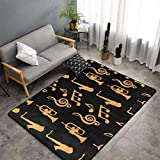 Alfombra de saxofón con música dorada, negra, para dormitorio,...