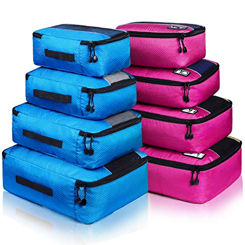 8 Set Packing Cubes, Travel Luggage Bags Organizers Mixed Color Set (Rose Blue)