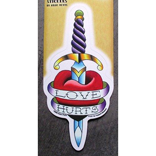 hotrodspirit - Sticker épée et Coeur Love Hurts Style Tattoo Tatouage Rock