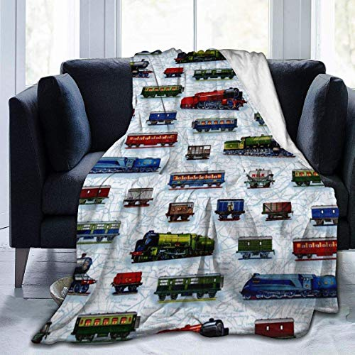 Manta de forro polar de Train Cars para sofá, cama, 152 x 127 cm