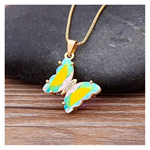 Original Design Necklace Women Fashion Party Wedding New Year Jewelry Gift 12 Colors Glamour Crystal Butterfly Pendant Necklace (Color : AB White)