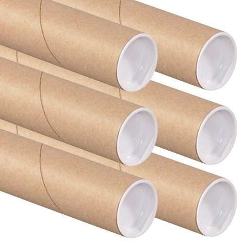 The Art Wall Kraft Mailing Tubes with Caps, 2-Inch by 30-Inch, 6-Pack