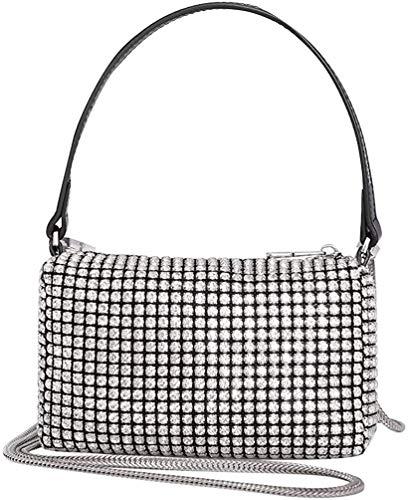 Montana West Crossbody Bags for Women Rhinestone Clutch Purse Crystal Shoulder Handbags Small Wallet Bag Silver ABU-MWL-019-WT