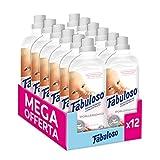 Fabuloso Ammorbidente Concentrato Ipoallergenico Con Latte Di Mandorla Dolce, Pelli Sensibili, 40 Lavaggi, 12 Flaconi da 1 Litro