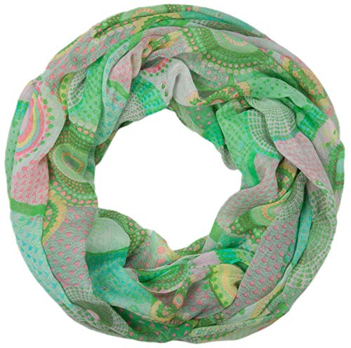 styleBREAKER styleBREAKER Ethno Design Loop Schlauchschal mit bunten Kreisen und Punkten 01016012, Farbe:Rose-Grün, Materialart:Standardmaterial