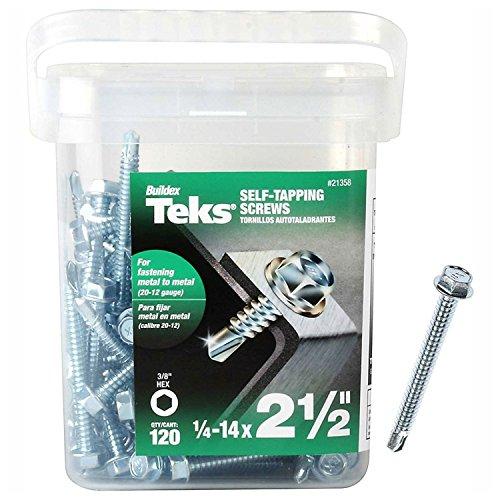 """ITW Brands 21358 Zinc Plated 120 Pack, 14 x 2.5,Teks Steel Hex Head Self Drilling Screws, 1/4-14"""" x 2-1/2"""""""