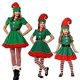 Wetry Costume da Elfo Natalizio Unisex Adulto Bambini di Natale Costume Cosplay Halloween Carnevale