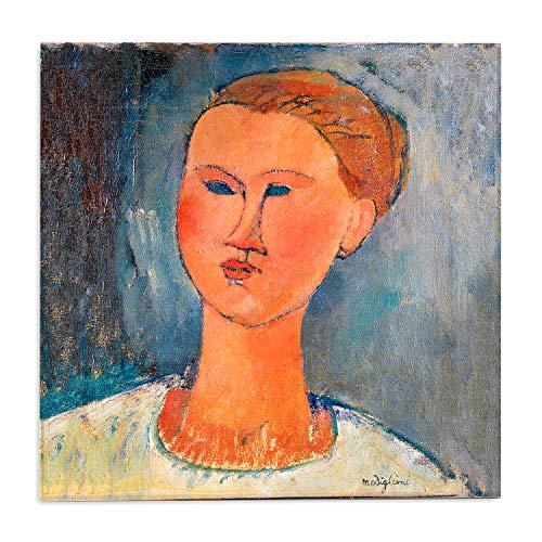 Giallobus - Schilderij - Amedeo Modigliani - Het hoofd van de jonge vrouw - bedrukking op plexiglas acryl - klaar om op te hangen - Diverse formaten - 50x50 cm