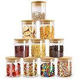 ZPGXLRZ 10 Piece Glass Storage Jars Set with Airtight Bamboo Lids, 6oz...