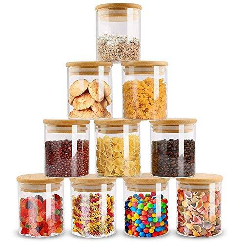 ZPGXLRZ 10 Piece Glass Storage Jars Set with Airtight Bamboo Lids 6oz Glass Spice Jars-Mini Food Storage Containers for Home Kitchen Tea Herbs Sugar Salt Coffee Flour Herbs Grains