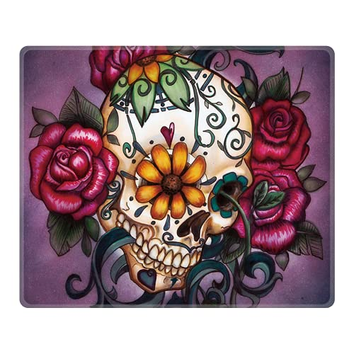 Royal Up Flower Skull Custom Mouse Pad Gaming Mat Keyboard Pad Waterproof Material Non-slip Personalized Rectangle Mouse pad (9.4x7.8x0.08Inch)