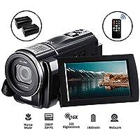 Videocámara Full HD 1080P 30FPS, ORDRO Portátil 24MP con Macro Videograbadora de Video Digital Grabadora Videocámaras con Control Remoto y 2 Baterías
