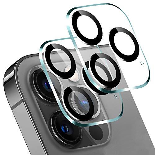 『最新改良フラッシュモヤ防止』SUPTMAX iPhone 12 Pro Max 用 カメラフィルム iphone12promax 3眼カメラレンズ用 ガラスフィルム 黒炭素繊維加工 フラッシュライト反射防止 硝子素材9H硬度 高鮮明度 粘着性抜群 剥がれにくい 撥油撥水加工 装着簡単 2枚セット (iPhone 12 Pro Max, 黒)