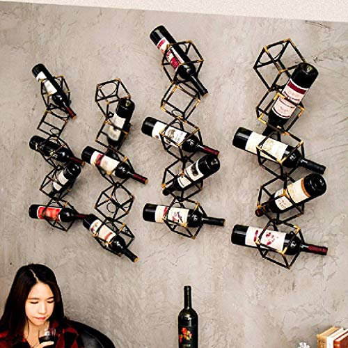 Bronze Metal Wall Mounted Wine Rack 5 Bottles For Restaurants Bars Daily Home Decoration Wine Bottle Holder 79 * 18 * 18cm Double