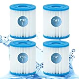 Type I Pool Filter Cartridge for Bestway, Pools Filter Cartridge Size I for Swimming Pool Filter, High-Efficiency Filter Elements for 330 Gallon Pump Filter Cartridge. (4 Pack)