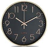 Lisedeer Orologio da parete al quarzo, 30 cm, silenzioso, senza ticchettio, analogico, colore oro rosa nero