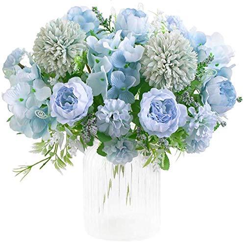 Ruiuzi Künstliche Blumen, Pfingstrose, Seide, Hortensien, Blumenstrauß Deko, Kunststoff, realistische Blumenarrangements, Hochzeitsdekoration, Tischdekoration (Blau)