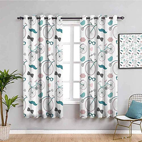 XLDYSC Kitchen Blackout Curtains Printed Curtains Thermal Insulated - Simple Stylish Beard Bicycle - Eyelet Window Treatment For Bedroom Nursery 220X140Cm