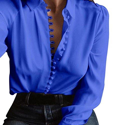 Xmiral Damen Oberteile beiläufige Feste Plain Long Sleeves Umlegekragen Bluse Revers Shirt (XL,Blau)