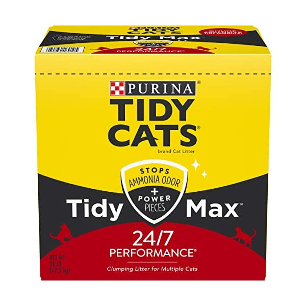 Purina Tidy Cats Clumping Cat Litter, Tidy Max 24/7 Performance Multi Cat Litter – 38 lb. Box