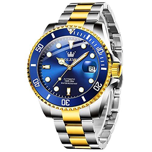 Reloj automático de lujo para hombre con fecha ampliada, bisel giratorio unidireccional, resistente al agua, luminoso, analógico, para hombre, oro y plata, brazalete de acero...