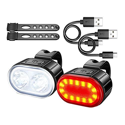 Generic Luci per Bicicletta Set di Fari E Fanali Posteriori Ricaricabili USB, Accessori per Luci Anteriori E Posteriori della Bicicletta a LED Super Luminosi