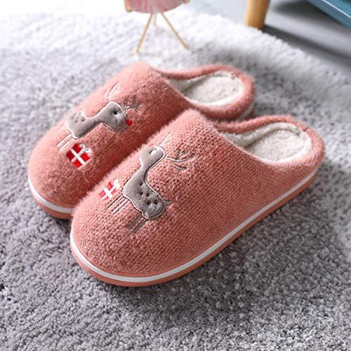 rutschfeste Schuhe für Zuhause,Weihnachtshaus Hausschuhe für Herren Damen Damen,Elch Clogs für Söhne Töchter,rutschfest,warm,atmungsaktiv,Indoor-Schuhe, Haut rot_41-42