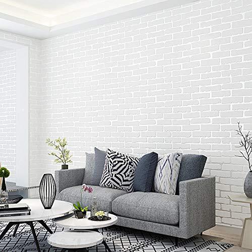 Behanglijm imitatie baksteen zelfklevend zonder lijm 3D vliesbehang behang slaapkamer woonkamer woonkamer tv-achtergrond muursticker 1 rol White Brick