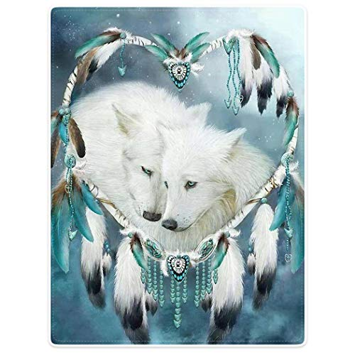 YISUMEI Decke 150x200 cm Kuscheldecken Sanft Flanell Weich Fleecedecke Wolf Dreamcatcher Traumfänger