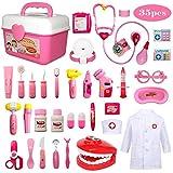 Buyger 35 pièces Déguisement de Docteur Jouet Costume Cosplay Jeu d'imitation Mallette Medecin Outils Médical Cadeau pour Enfant Fille (Rose)