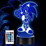 3D erizo ilusión lámpara anime 3D noche luz con 16 colores cambiantes RGB regalo creativo juguete para niños erizo fans