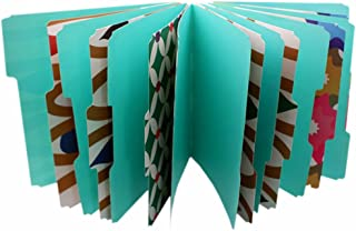Affinitee Products Decorative File Folder Set - Pack of 12 Paper Folders in 4 Unique, Bold, and Colorful Designs - Plus Label Stickers, Insert Card, and Travel Poly Bag - Great for School and Office