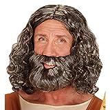 Widmann wdm04947?Déguisement Pour Adultes perruque et barbe biblique en boîte, gris, Taille unique