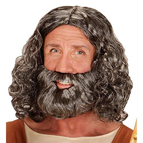 Widmann 04947 bijblische pruik en baard, heren, grijs, één maat